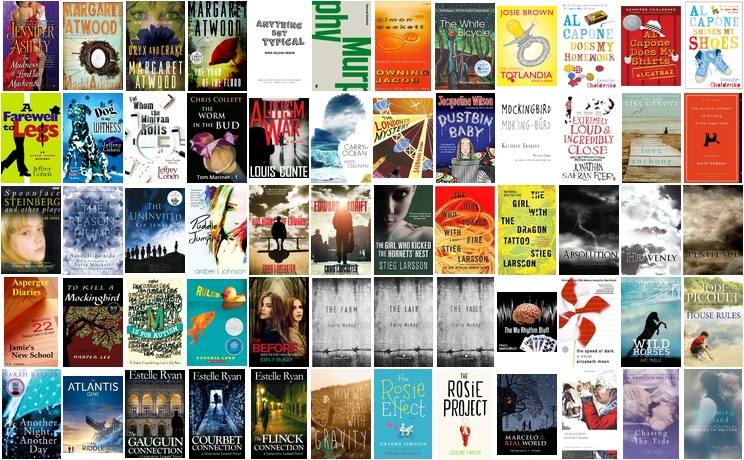A montage of ASD fiction titles