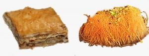 Sweet pastries - baklava and kadaïfi