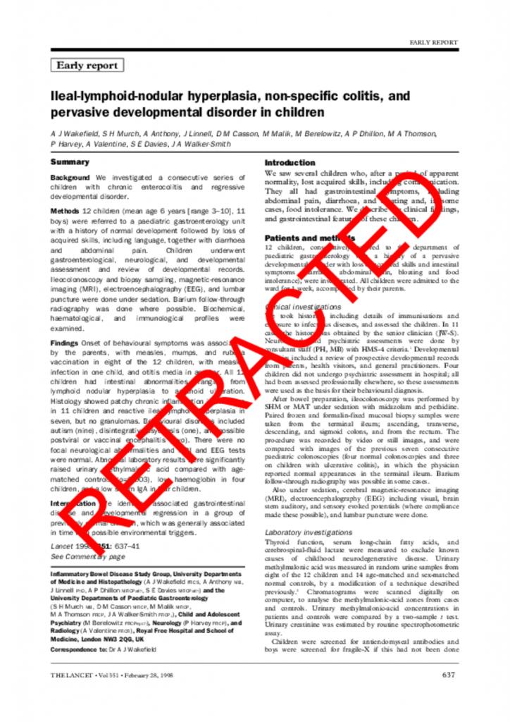 Wakefield (1998) RETRACTED Ileal-lymphoid-nodular hyperplasia, non-specific colitis, and PDD children