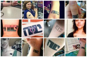 """Bitch Planet (by writer Kelly Sue DeConnick and artist Valentine De Landro) inspired 'NC' tattoos amongst readers who subverted the slogan applied to """"non-compliant"""" women imprisoned off-plant by a patriarchal society."""