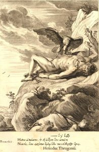Prometheus bound to a rock has his liver eaten each day only to regenerate each night, in eternal punishment for tricking Zeus (Michel de Marolles, 1655, British Museum).